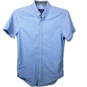 Zara Men's Short Sleeve Medium Shirt Blue PolkaDot